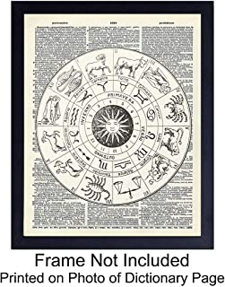 Zodiac Upcycled Dictionary Wall Art Print - Vintage 8x10 Unframed Photo - Great Gift for Steampunk and Astrology Lovers - Chic Home Decor