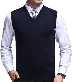 FULIER Mens V-Neck Sleeveless Vest Classic Business Gentleman Knitwear Knitted Waistcoat Sweater Cardigans Tank Tops