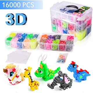 Upgrade 3D Perler Beads Kits,16000 pcs Fuse Bead Kits, 20 Colors (5 Glow In The Dark),Included 3D Full Size Patterns, Tweezers, Pegboards, Ironing Paper- Works with Perler Beads