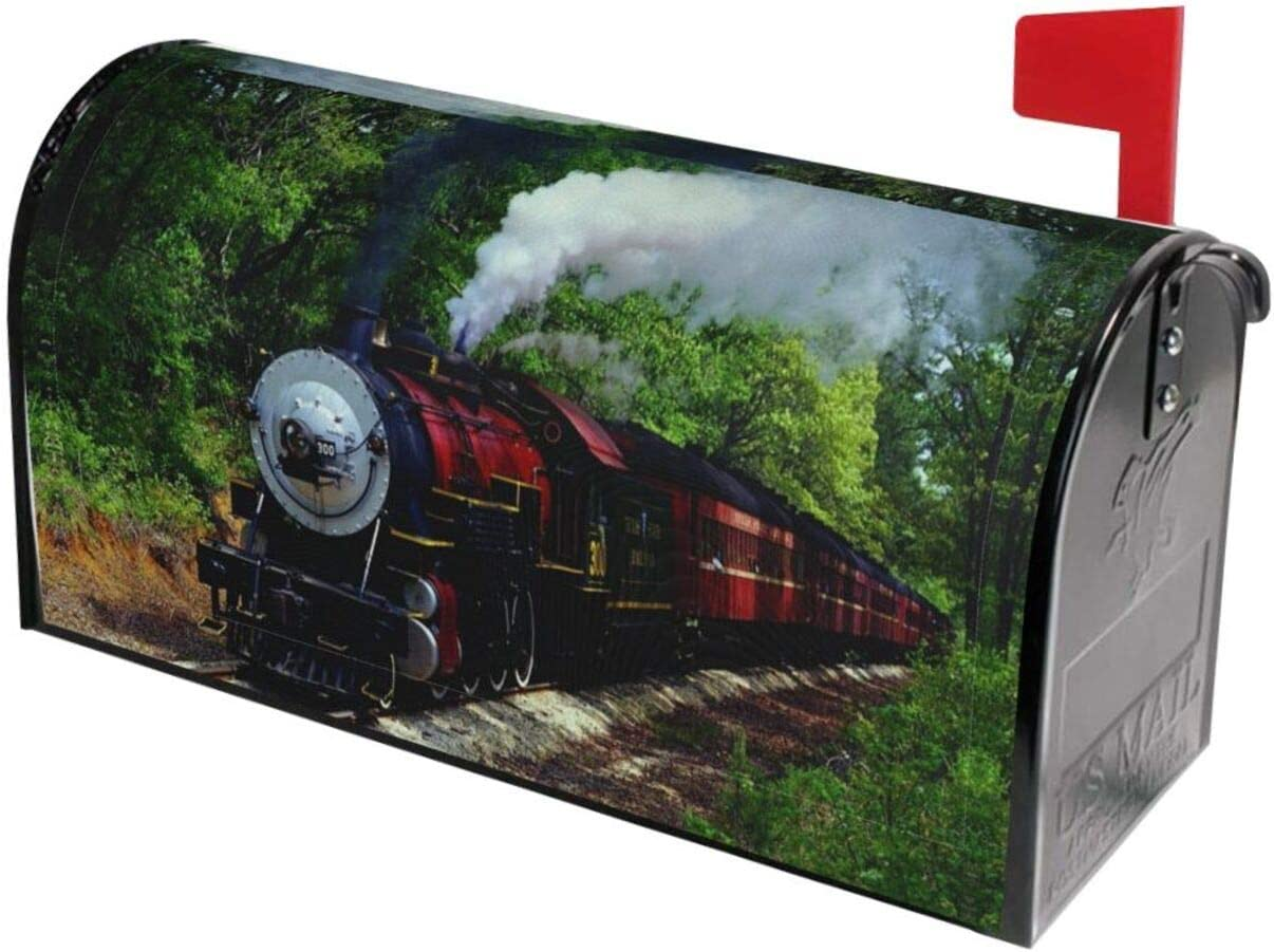 KXT Vintage Steam Train Mailbox Covers,Magnetic Mail Cover,Waterproof Anti-Fading Post Letter Box Cover Durable Mailbox Wrap for Garden Yard Home Decor