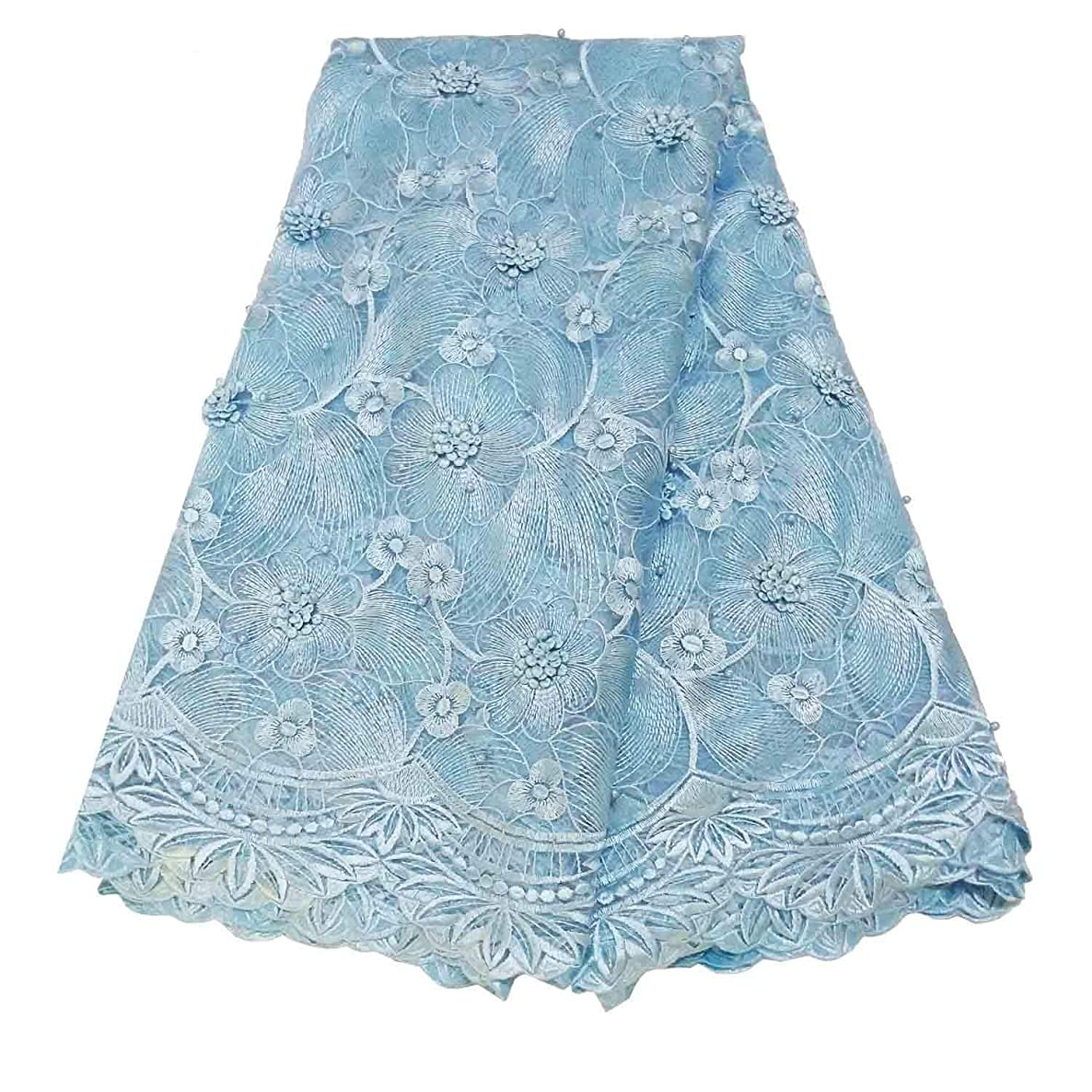 BlueSky 5 Yards African Nigerian French Lace Net Fabric Embroidered Beading and Rhinestones Guipure Cord Lace for Wedding Part A009 (Light Blue)