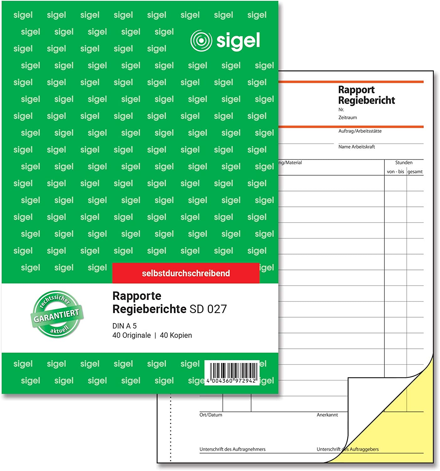 Sigel 特価キャンペーン SD027Rapport Director's Report 驚きの値段で A52x40Sheets Carbonless