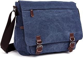 LOSMILE Umhängetasche Herren Schultertasche 16 Zoll Kuriertasche Canvas Laptop Tasche Messenger Bag für Arbeit und Schule. Blau