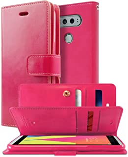 GOOSPERY LG V20 Case, [Extra Card & Cash Slots] Mansoor Diary [Double Sided Wallet Case] Soft PU Leather [Drop Protection] Cover for LG V20 (Hot Pink) LGV20-MAN-HPNK