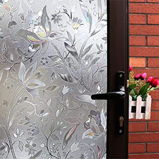 Mikomer Tulip Decorative Window Film,No Glue Privacy Film,Stained Glass Door Film,Static Cling Heat Control Anti UV Decoration for Home and Office,17.5 inches by 78.7 inches