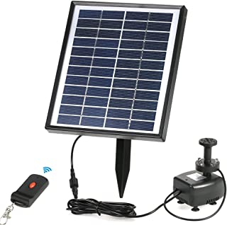 Anself Solar Fountain Pump with LED Lighting and Remote Control, Battery Backup Solar Power Brushless Water Pump, for Garden Pond Fountains Landscape, 12V 5W