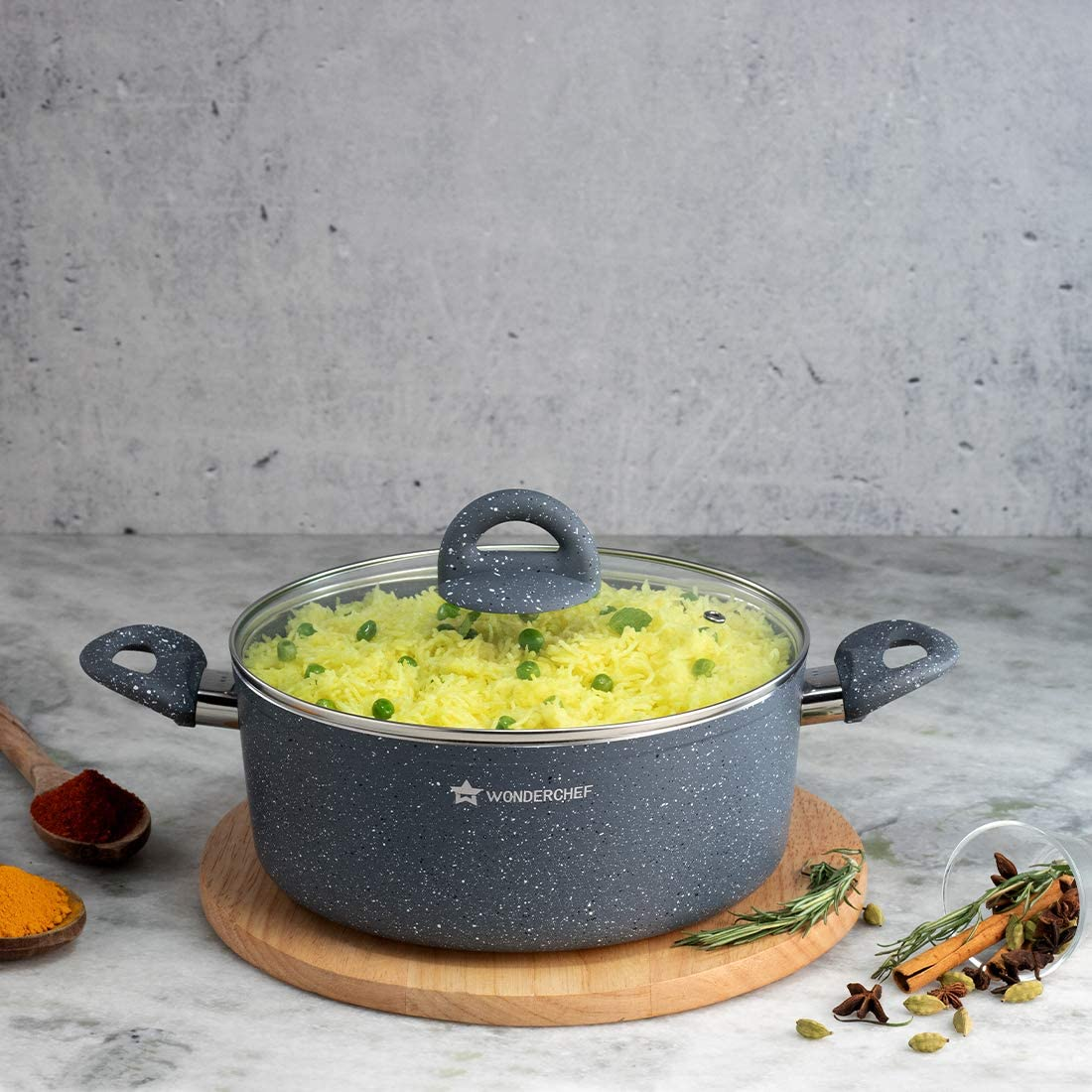 Wonderchef Granite Non-Stick Aluminum w Cooking Casserole 安い オリジナル Indian