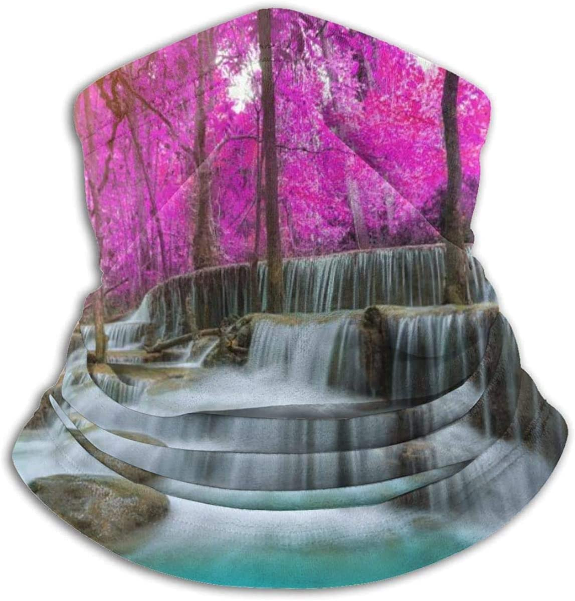 Lastbest Beautiful Waterfall in Autumn Forest Neck Warmer Multifunction Scarf Hat Neck Gaiter Neck Cap Bala Windproof Neck Heating Wrap Outdoor Sports One Size