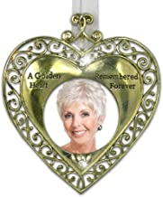 Golden Heart Bereavement Sympathy Remembrance Photo Ornament with Hanging Crystal - Metal - 4.5 Inch