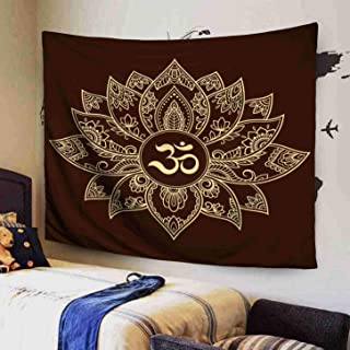 GROOTEY Wall Hanging Tapestry Polyester 80x60 Inches Lotus Flower Pattern Mantra Symbol Henna Drawing Tattoo Decoration in Ethnic Inhouse Bedspread Tapestries for Home Dorm Decoration