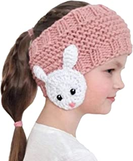 NucLighter Cute Animal Winter Earmuffs Ponytail Knit Cap Beanie Hat Headband Head Wrap for Kids Toddler Aged 2-10 (Pink, Animal)