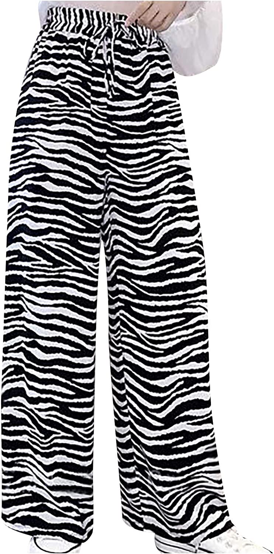 FUNEY Women's Comfy Stretch Striped Printed Drawstring Wide Leg Lounge Pants Ladies High Waist Loose Wide Leg Pants