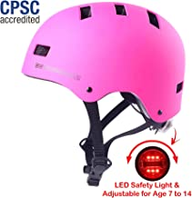 SG Dreamz Youth Bike Helmet – Adjustable from Child to Youth Size, Ages 7 to 14 - Durable Kid Bicycle Helmets with Safety Light Boys and Girls Will Love - CSPC Certified