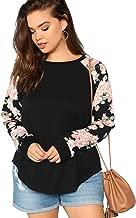 Floerns Women's Plus Size T Shirts Floral Raglan Sleeve Curved Hem Top