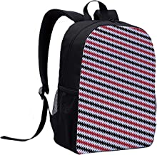 Red and Black Multi Function Backpack,Hypnotizing Vintage Zigzag Chevron Wave Seem Retro Border Like Image for Office,12
