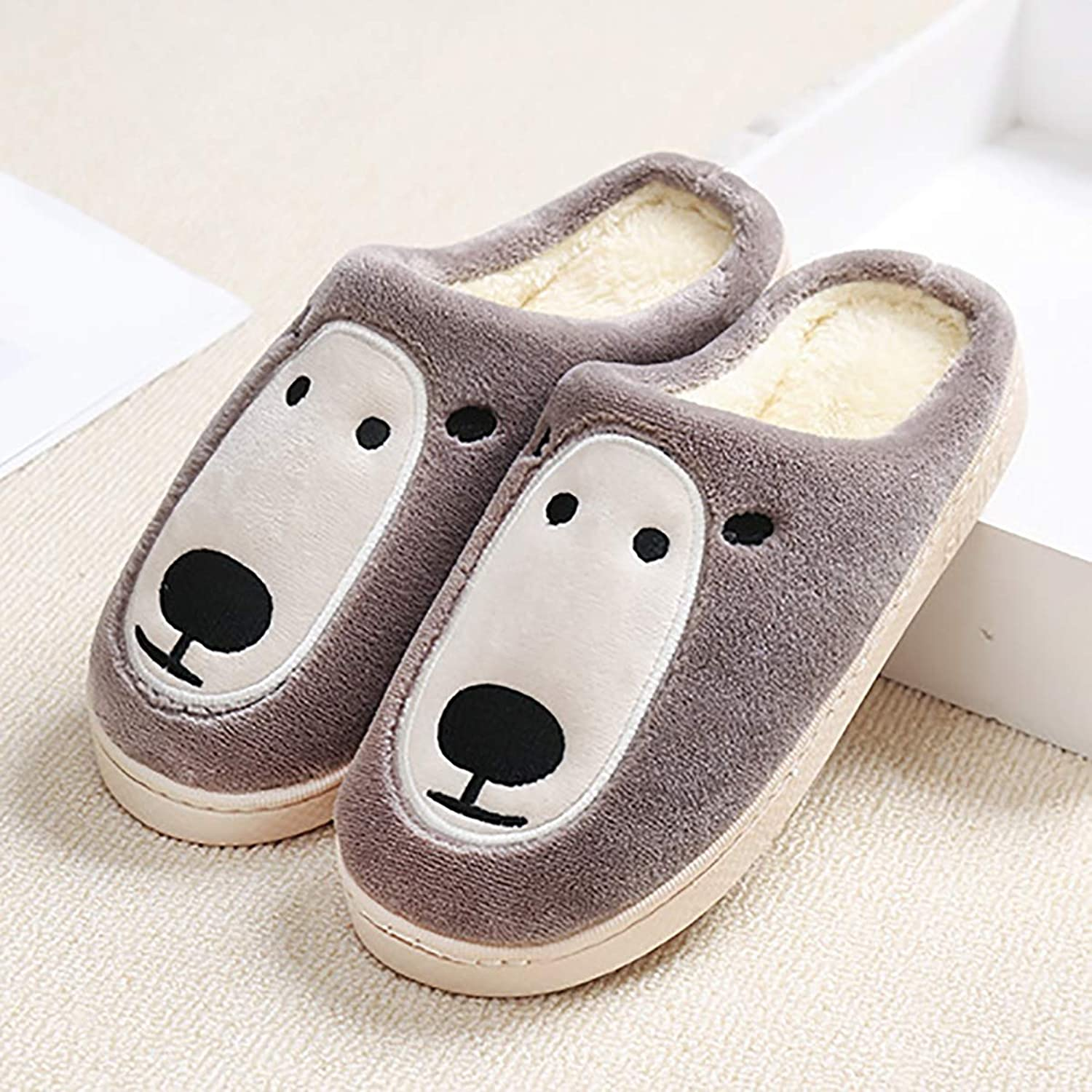Plush Cartoon Cotton Slippers Indoor Warm Non-Slip Cotton shoes Lightweight Washable Home shoes for Men and Women,Brown,42 43
