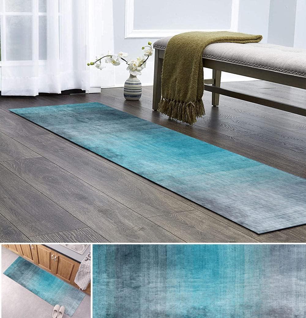 Rug Runner Washable Mat Non Gray Blue Hallway Slip Gorgeous favorite