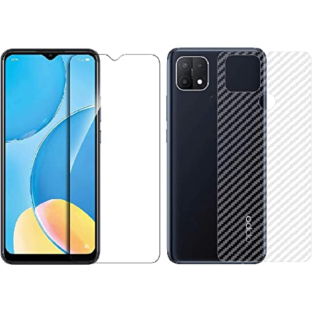 Kartronics Compatible with Oppo A15S Back Screen Protective Film Carbon Fiber Skin Transparent Screen Guard Sticker & Premium Tempered Glass Screen Protector