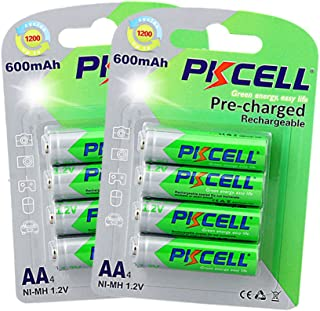 8pcx 1.2V Nimh AA Low Self-Discharge Rechargeable Battery 600mAh for Garden Solar Lights PKCELL