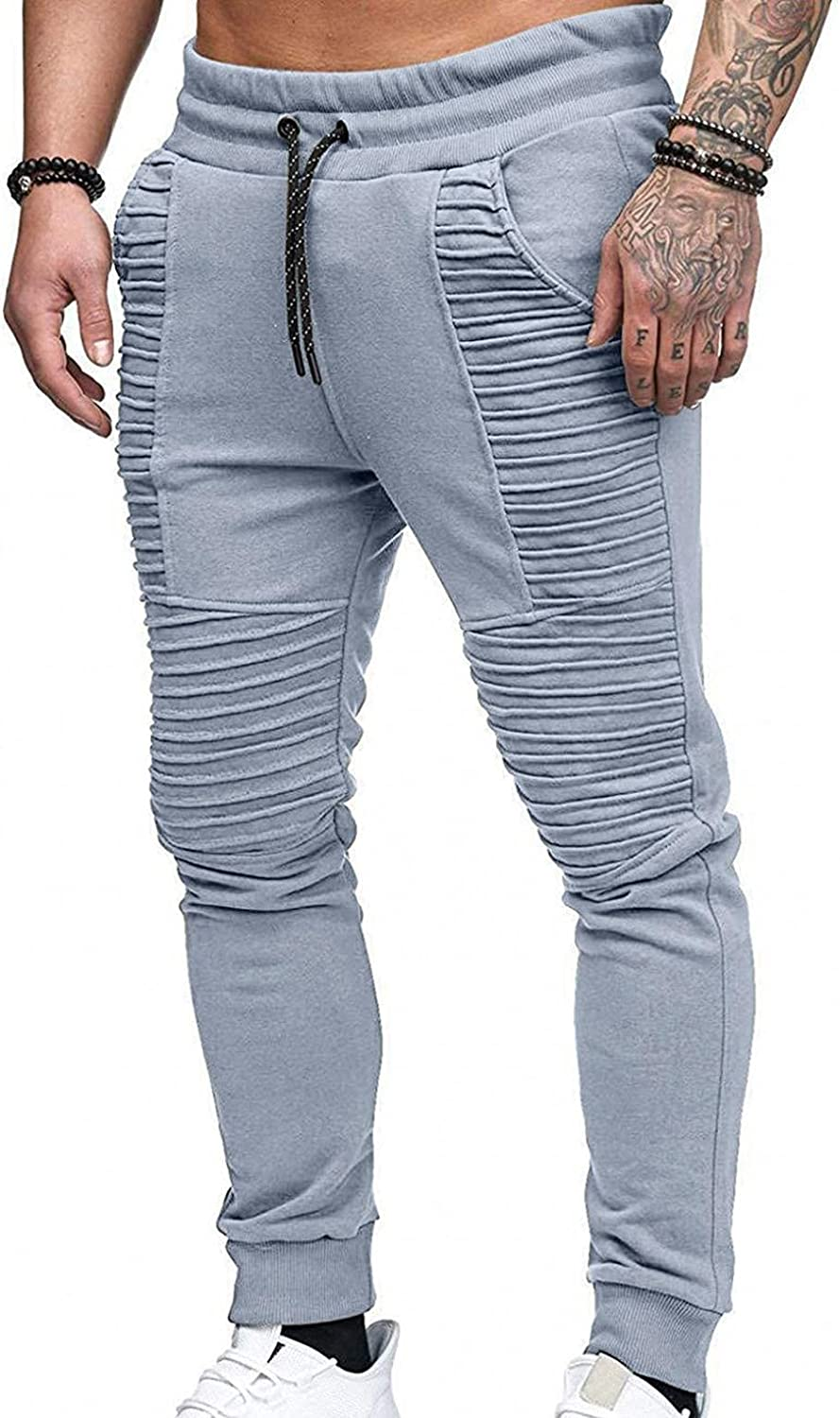 PHSHY Mens Casual Drawstring Elastic Waist Stretch Gym Workout Bodybuilding Motocycle Pleated Pockets Jogger Sweatpants