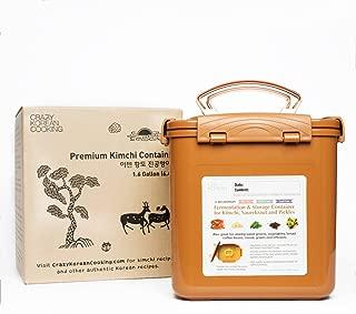 Premium Kimchi, Sauerkraut Fermentation and Storage Container with Inner Vacuum Lid, Sandy Brown - 1.6 Gallon (6.4L)