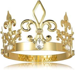 DcZeRong King Crown Costume Full Round Metal Crystal Tiara Men Birthday Prom Homecoming King Crowns