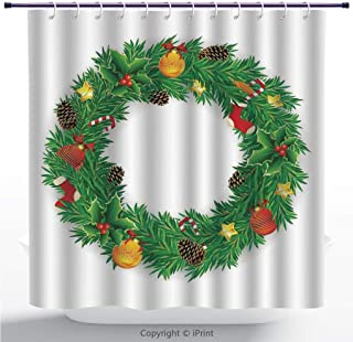 MyCCIC Multicolor Shower Curtain/Christmas Decorations,Wreath Evergreen with Candy Cane Stockings Mistletoe Berries On Door,Green White/Polyester Fabric Bathroom Shower Curtain Set with Hooks
