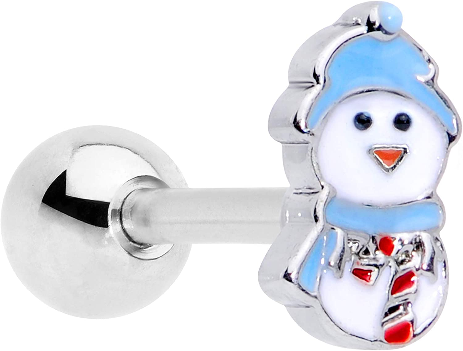 Body Candy 16G Womens Stainless Steel Winter Snowman Holiday Cartilage Earring Helix Tragus Jewelry 1/4