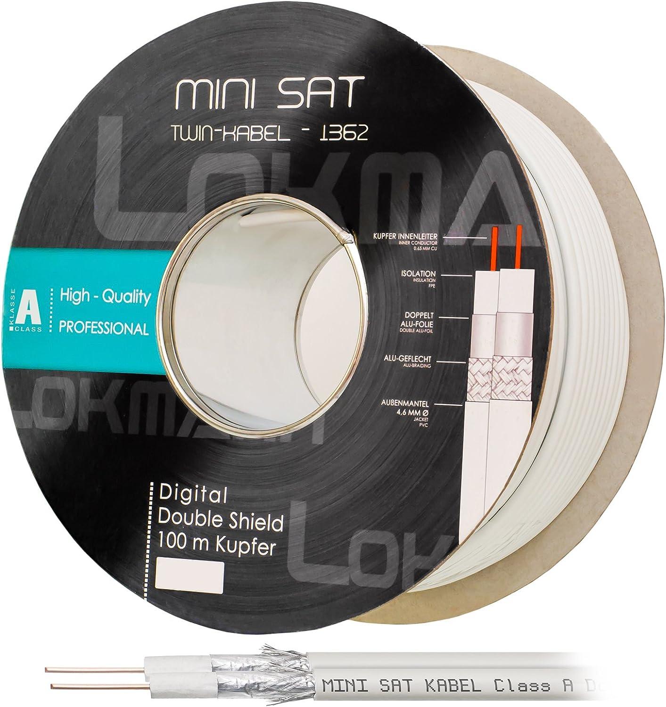 40m mini TWIN 2x4,5 DIGITAL Koaxkabel Koax Antennen Sat Kabel TV Antene 8K TOP