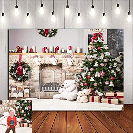LB Christmas Wood Floor Backdrop 10x10ft Vinyl Christmas Tree Photo Backdrops for Xmas Eve Home Party Pictures Customized Photo Studio Background P