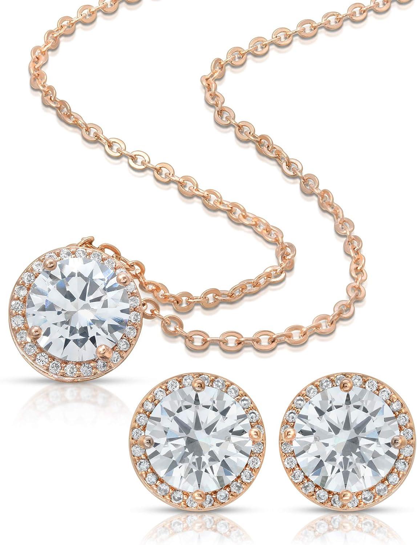 BRIDE DAZZLE Bridesmaid Gifts - Pretty Halo Cubic-Zirconia Necklace & Earrings Set (18