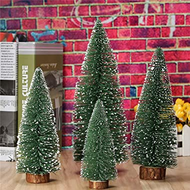 Mini Christmas Tree, Small Pine Tree with Wooden Bases for Xmas Holiday Party Home Tabletop Tree Decor (4pcs)