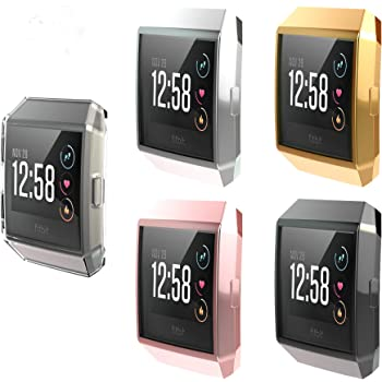 Clear,Black,Silver,Pink Full-Around TPU Rugged Protective Case Cover 3 Pack Scratch-Resistant Bumper Shell for Fitbit Ionic Smartwatch Five Star Online Compatible with Fitbit Ionic Screen Protector
