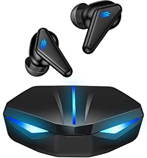 YOVDA Audífonos Gamer Bluetooth 5.0 K55 Auriculares True Wireless Inalámbricos TWS Estuche de Carga Hasta 20hrs de Batería para Juegos Móviles Smart Touch Sonido Envolvente Micrófono Reducción de Ruido Externo