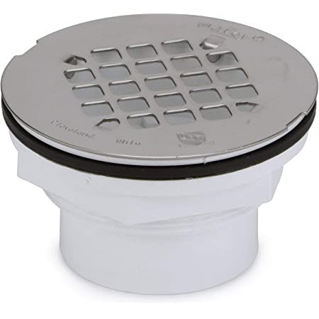 Oatey 42097 101 PS PVC-Solvent Weld Shower Drain with Stainless Steel Strainer, 2-Inch, 2