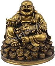 Petrichor Fengshui Laughing Buddha Sitting on Lucky Money Coins Carrying Golden Ingot for Good Luck & Happiness (5 Inches)