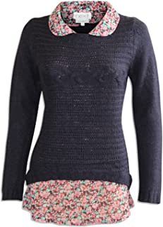 2e3ef987c2f1fe Next Ex Ladies Navy Blue Cable Knit Jumper with Mock Floral Shirt