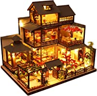 Voice-Activated Lights and Dust Cover Best Gift CONTINUELOVE Miniature Wooden Dollhouse Kit with Furniture
