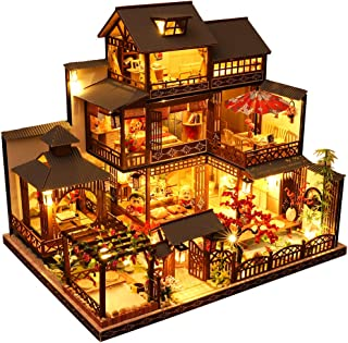 CUTEBEE Dollhouse Miniature with Furniture, DIY Wooden Dollhouse Kit Plus Dust Proof and Music Movement, 1:24 Scale Creati...