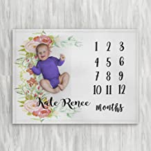 Personalized Month Milestone Baby Blankets   White Floral Frame   Frame 30 X 40 The Navy Knot Plush Minky Fleece Newborn Girl Boy Gifts Baby Shower Monthly Weekly Tracker Photography Pictures