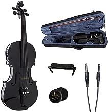 Cecilio 4/4 CVNAE-Black+SR Ebony Fitted Acoustic/Electric Violin in Metallic Black
