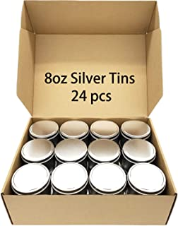 PMCDS2G Candle Tins 24 Piece, 8oz for Candle Making - Silver