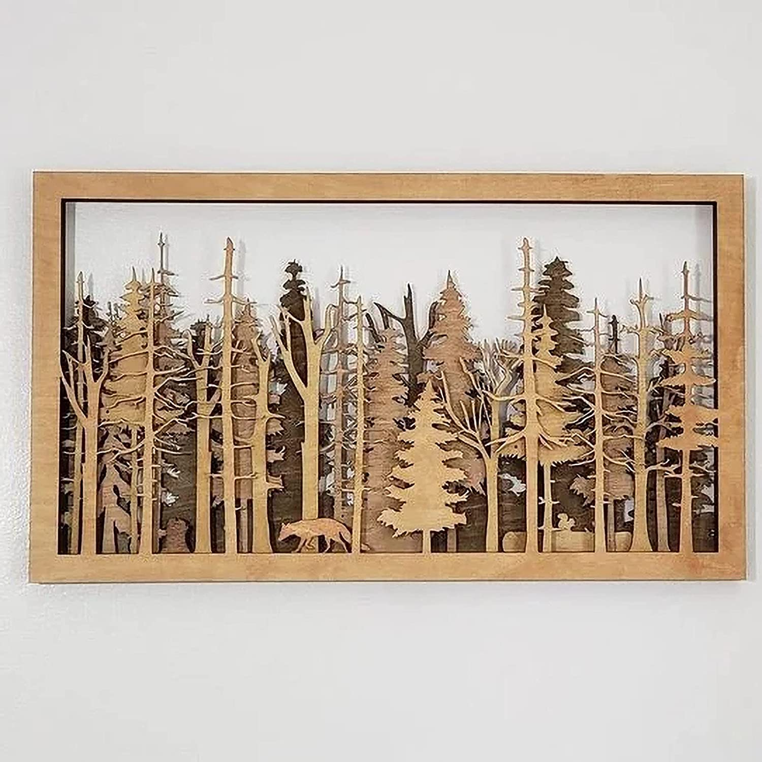 The Wide Woods - 7 Layer Wall Art - Birch Trees Carved Wall Plaque, Forest Nature Trees Fox Wilderness Multilayer Fireplace Mantel Camping Cottage Cabin Outdoors Landscape for Home Bedroom Office