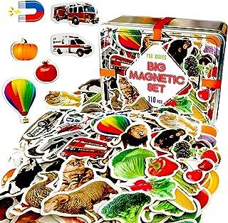 MAGDUM 110 fotoset djur och frusser och grönsaker och transport i presentask – 110 realistiska magnetiska leksaker för bar...