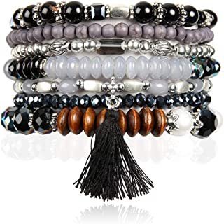 RIAH FASHION Multi Layer Versatile Statement Bracelets - Stackable Beaded Strand Stretch Bangles Sparkly Crystal, Wood Bead, Tassel Charm Pendant