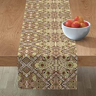 Roostery Tablerunner, 2084 Diagonal Fall Colors Art Nouveau Bold Autumn Boxes Print, Cotton Sateen Table Runner, 16in x 72in