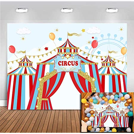 New Circus Carnival Birthday Photo Studio Booth Background Red Curtain Elephant Vintage Kids Birthday Decorations Black and White Grids Backdrops Banner for Photography 7x5ft
