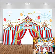 Carnival Backdrop Red Circus Tent Photography Backdrop First 1st Kids Baby Shower Birthday Party Banner Decoration Dessert Candy Table Photo Booth Studio Props Background Vinyl 5x3ft