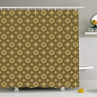 Ahawoso Shower Curtain 66x72 Inches Suitcase Vuitton Luxury Geometric Floral Pattern Abstract Louis Pram Blossom Canvas Carpet Design Waterproof Polyester Fabric Bathroom Curtains Set with Hooks