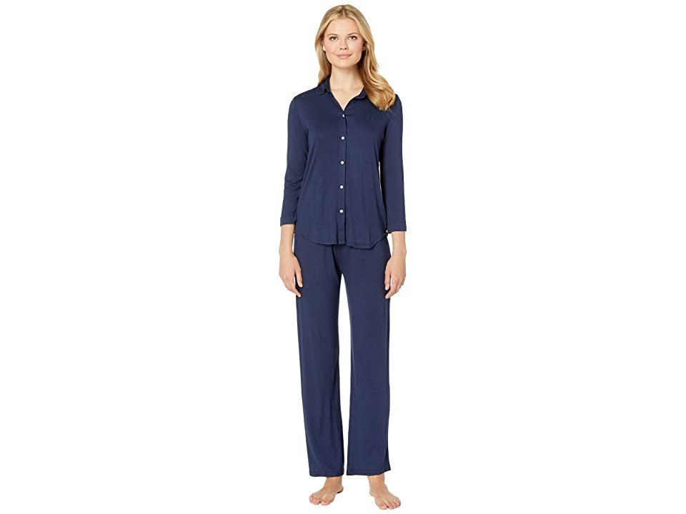 LAUREN Ralph Lauren His Shirt Long Pajama Set (Navy) Women